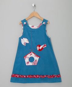 Take a look at this Blue Corduroy Bird Dress - Infant, Toddler & Girls by Powel Craft on #zulily today!
