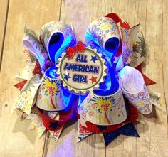 4th of July hair bow, Light Up Hair bow, All American Girl hair bow, stacked boutique bow, Boutique bow, Girls hair bow, large hair bow by CreateAlley on Etsy