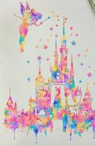 Tinker bell on top of the castle watercolor