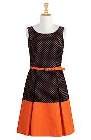 Polka dot colorblock dress http://www.eshakti.com/