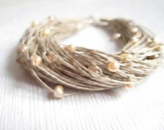 Pulsera de perlas boda lino joyería pulsera por DreamsFactory
