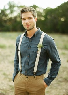 Great barn wedding style for men!--- this is cool, i like the idea of wearing suspenders, no jacket----