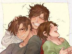 Aww grandpa Rome, Romano, and Feli