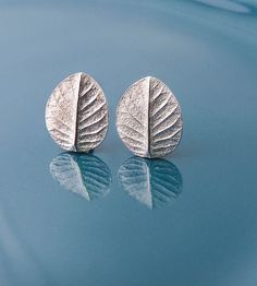 """Silver Leaf Post Earrings   These pure silver post earrings measure 3/8"""" tall, with sterli...   Earrings"""