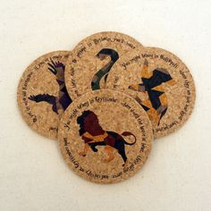 This set of cork coasters makes a great gift! The designs feature popular pubs from the wizarding world. These cork coasters are fun and eco-friendly. Cork is a biodegradable and sustainable resource. These coasters will protect your furniture from scratches and water stains. They feature a beveled edge for a finished look. Cork is naturally waterproof and anti-slip. Dimensions: Diameter: 4 inches Thickness 1/4 inch This item is custom made for you in our studio. Printed with eco-friendly .....
