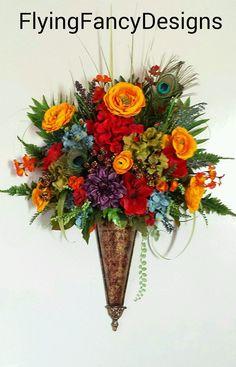 34x24 Bold Multi Tone Feather Silk Floral Flower Arrangement Wall Pocket OOAK in Home & Garden   eBay
