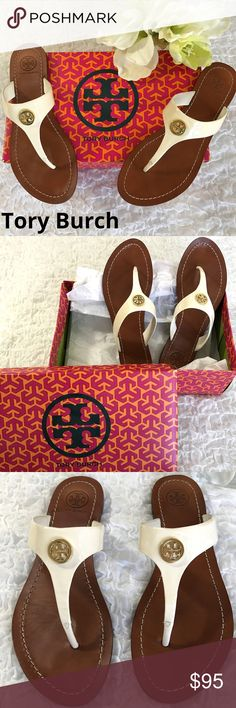 """TORY BURCH Cameron Patent Logo Thongs Love these TB white patent leather thongs! Previously gently loved (worn 3x) these are fresh & clean for your spring & summer enjoyment! Has a tiny mark on the side of one shoe but need to scrutinize to see otherwise great shoes. Comes w/ box & TB tissue paper. NOTE: these are size 7 but I'm a true 6 1/2 & they fit me great. Measurement provided so you can judge. Approx Measurement from heel to toe: 9 3/4"""". From toe divider to end of heel:7 5/8"""" Tory…"""