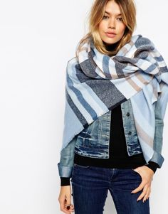 ASOS Oversized Square Scarf In Blown Up Check at asos.com. Soft-touch fabric Fluffy-feel finish Checked print Oversized design