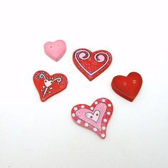 5 Wooden Painted TwoHoled Heart Buttons by TheOldCrowCraftShop, $1.50