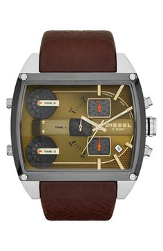 DIESEL® 'Mothership' Chronograph Leather Strap Watch, 53mm x 57mm available at #Nordstrom