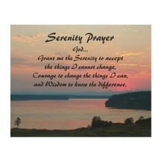 Serenity Prayer Pink Seascape Photo Wood Wall Decor - photography gifts diy custom unique special