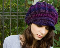 Crochet Hat Pattern - How To Crochet Tutorial Easy Crochet Patterns - Man Beanie Hat Womens Hats Womens Winter Hats Slouchy Beanie Beret Hat Ribbed Crochet, Crochet Slouchy Beanie, Hand Crochet, Knitted Hats, Crochet Hats, Crochet Flower, Mode Crochet, Crochet Hat For Women, Winter Hats For Women