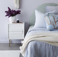 Bedroom Goals: 15 Real-Life Nightstand Setups We Love - Front + Main White Nightstand, Textiles, Upholstered Beds, Interior Design Tips, Interior Paint, Home Decor Inspiration, Decoration, Colorful Interiors, Furniture Decor