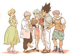 dragon ball - family - vegeta - bulma - trunks and the Briefs fam Vegeta Y Trunks, Vegeta And Bulma, Akira, Mom Characters, Dragon Ball Z Shirt, Anime Shows, Anime Manga, Son Goku, Prince