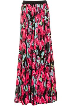 Silky maxi skirt featuring a vibrant floral print contrasting elastic waistband and partial liing from waistband to upper thigh. By BB Dakota.. INFO & CARE   Length: 43.5 in. Waist: 26 in. (elastic) Hip: 48 in. Measured from size small, please refer to size chart for more info Model Measurements: Height: 5'8 / Bust: 32A / Waist: 24 in. / Hip: 34 in. Shell: 100% Polyester Lining: 100% Polyester Hand wash cold Imported Brand: BB Dakota