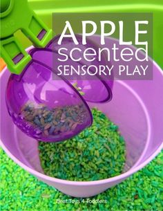 Apple scented sensory play is perfect for toddlers and preschoolers as a way to explore fall season and practice their fine motor skills. Fall Preschool Activities, September Activities, Sensory Activities, Infant Activities, Toddler Preschool, Toddler Crafts, Preschool Apples, Apple Activities, Preschool Math