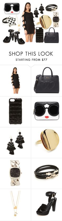 """""""pitch Black"""" by hillarymaguire ❤ liked on Polyvore featuring Susana Monaco, Moschino, Valenz Handmade, Alice + Olivia, Kate Spade, Elizabeth and James, DKNY, Salvatore Ferragamo, Tory Burch and Raye"""