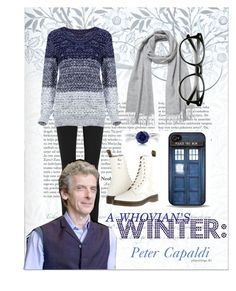 """""""A Whovian's Winter: Peter Capaldi Edition"""" by orangeturquoise ❤ liked on Polyvore featuring Helmut Lang, Knutsford, Dr. Martens and BERRICLE"""