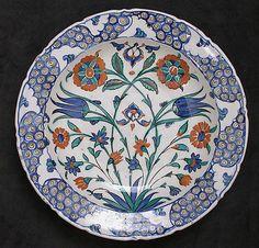 Dish, Date: 16th century Geography: Turkey, Iznik Medium: Stonepaste; underglaze painted on white slip