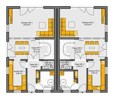 Fertighaus Doppelhaus Gemello SD 131 Grundriss EG