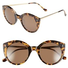 Illesteva 'Palm Beach' 50mm Round Sunglasses ($240) ❤ liked on Polyvore featuring accessories, eyewear, sunglasses, glasses, tortoise, retro sunglasses, illesteva sunglasses, acetate sunglasses, tortoise sunglasses and uv protection sunglasses