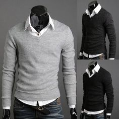 ~Black/Grey V-neck sweater and a white shirt as an easy way to keep warm without a suit jacket.
