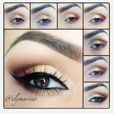 yellow and wine eye makeup tutorial #evatornadoblog