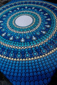 Original Full Moon Mandala Dot Painting - 30cm x 30cm - stretched canvas de StripeyCatsStudio en Etsy https://www.etsy.com/es/listing/249747889/original-full-moon-mandala-dot-painting