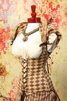 Waist 31 to 33 Steampunk Circus Vixen Corset with Detachable Hood