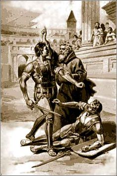 Telemachus was a Christian martyr who according to Church historian Theodoret tried to stop a gladiatorial fight in the Roman Coliseum and was stoned to death by the crowd. The Christian Emperor Honorius, however, was impressed by his martyrdom and it spurred him to issue a historic ban on gladiatorial fights. The last known gladiatorial fight in Rome was on 1 January 404 AD, so this is usually given as the date of Telemachus' martyrdom.