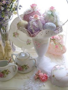 Sweet Embellished Foil Easter eggs by sweetnshabbyroses, via Flickr