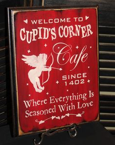 Cupid's Corner Cafe by TheGingerbreadShoppe on Etsy, $21.95  Cupid, Valentine's Day, Hearts, Red, Home Decor