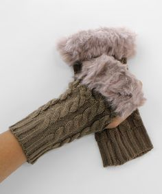 Another great find on #zulily! Khaki Faux Fur Fingerless Gloves #zulilyfinds