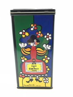 "Grand Marnier Creme Romero Britto Art Empty Hinged Tin 1990 9 x 4"" NO ALCOHOL #GrandMarnier"