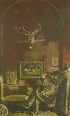 Walter Richard SICKERT, A.R.A. SELF PORTRAIT WITH BLIND FIDDLER,ca 1929.oil on canvas 66 by 41cm.