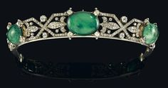 An exceptional diamond and emerald diadem, from an old European aristocratic collection. gold 580, silver, old-cut diamonds, total weight ca. 20,80 ct, emerald cabochons, total weight ca. 140 ct, workmanship 1st third 20th cent., 114 g, emeralds and setting detachable