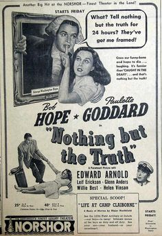 Original 1941 newspaper advert for Bob Hope & Paulette Goddard film 'Nothing But The Truth'    October 1941, Duluth Herald  NorShor Theater