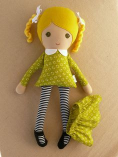 Fabric Doll Rag Doll Blond Haired Girl in Green by rovingovine