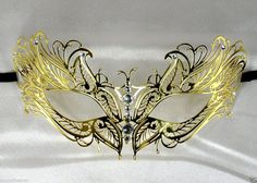 Woman Gold Metal Filigree Venetian Masquerade Butterfly Mask w/Rhinestones  #Unbranded #Fasion #Party