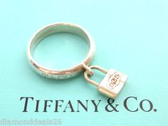Tiffany & Co. Authentic 1837 Ring With Dangle Lock Charm Sterling Silver