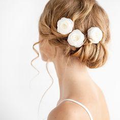 Mini Bridal Hair Pins Set of 3 - Rose Hair Pins - Bridal Hair Pins - Wedding Hair Rose - Ivory OR White by Florentes on Etsy https://www.etsy.com/listing/156344340/mini-bridal-hair-pins-set-of-3-rose-hair