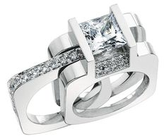 Cool diamond wedding set