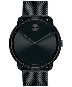Movado Unisex Swiss Bold Black Ion-Plated Stainless Steel Mesh Bracelet Watch 44mm 3600261 | macys.com