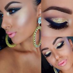 Gold glitter make up