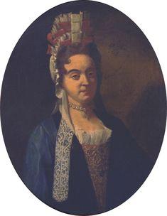 portrait de Mme Teresa Roig y Gazanyola en coiffe à la Fontange, 1699. Antoine Guerre.