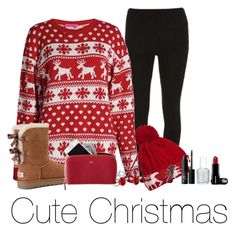"""""""Cute Christmas"""" by lianakasel ❤ liked on Polyvore featuring Dorothy Perkins, Boohoo, UGG, Mark & Graham, WithChic, NARS Cosmetics and Essie"""