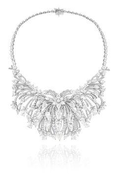 Collar Riviera, en oro blanco completamente engastado con diamantes talla brillante, talla marquesa y talla rosa en forma de pera, de Chopard.