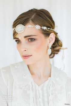 "Edera 2016 Bridal Accesories Collection | ""Amandine"" Earrings & Necklace (Worn As A Halo)"