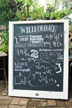 A creative welcome sign for the wedding reception. We love the use of chalkboard and interesting fonts!
