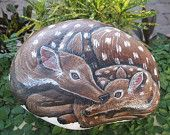 Hand Painted Rocks / Stones / Acrylics / Home / Outdoor Decor /  Deer / Doe with Fawn / Garden Ornament / Great Valentine Gifts on Etsy